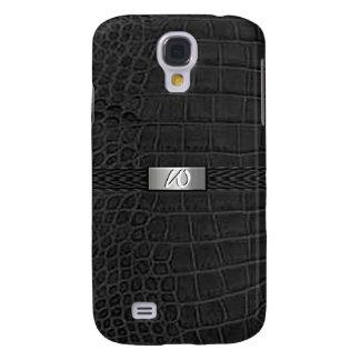 Monogramme noir d'alligator de Faux Coque Galaxy S4