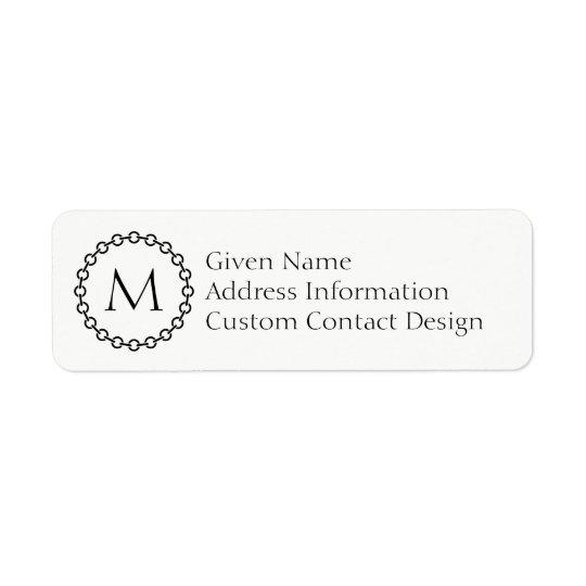 Monogramme noir de cercle d'anneau de maillon de étiquette d'adresse retour
