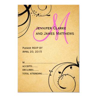 Monogramme noir de rose de remous épousant RSVP Carton D'invitation 8,89 Cm X 12,70 Cm