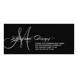 Monogramme noir d'invitation de dîner de carton d'invitation  10,16 cm x 23,49 cm