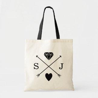 Monogramme noir et blanc de mariage de flèche sacs