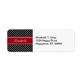 Monogramme noir et blanc de nom de canneberge de étiquette d'adresse retour