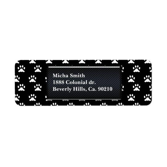 Monogramme noir et blanc de pattes de chien étiquette d'adresse retour