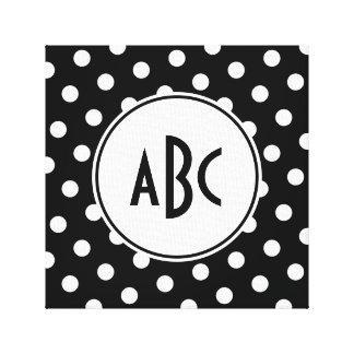 Monogramme noir et blanc de point de polka toiles