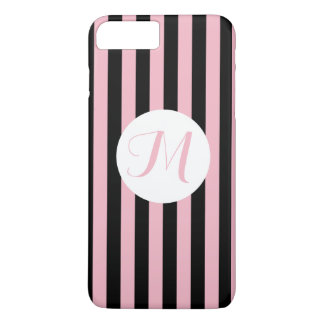Monogramme noir et blanc de rose noir mince de coque iPhone 7 plus
