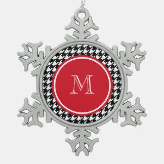 Monogramme noir et blanc de rouge de pied-de-poule ornement flocon de neige pewter