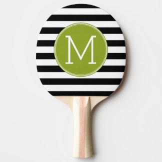 Monogramme noir et blanc de vert de motif rayé raquette de ping pong