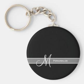 Monogramme noir et blanc élégant avec le nom porte-clé rond