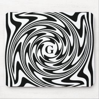 Monogramme noir et blanc tapis de souris