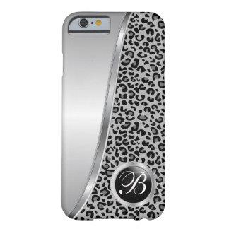 Monogramme noir et gris de l'empreinte de léopard coque iPhone 6 barely there