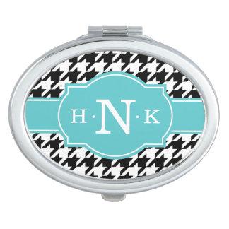Monogramme noir Girly de bleu de pied-de-poule Miroirs À Maquillage