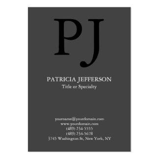 Monogramme noir gris élégant moderne à la mode carte de visite grand format