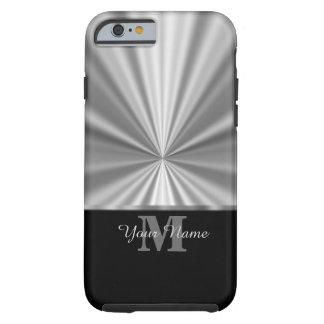 Monogramme noir métallique de faux argenté coque iPhone 6 tough