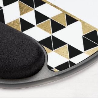 Monogramme noir moderne de triangle d'or de blanc tapis de souris avec gel