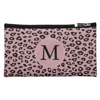 Monogramme noir rose d empreinte de léopard nécessaire de maquillage