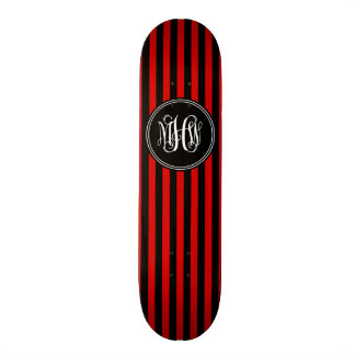 Monogramme noir rouge de manuscrit de vigne de la skateboards customisés
