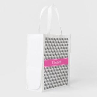 Monogramme nommé blanc gris de HotPink #2 de cube Sac Réutilisable