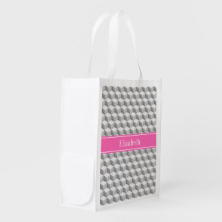 Monogramme nommé blanc gris de HotPink #2 de cube Sac Réutilisable D'épcierie