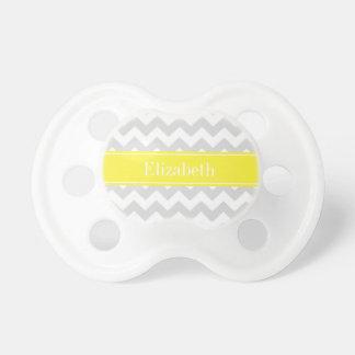 Monogramme nommé jaune blanc gris de lt Chevron Tétine