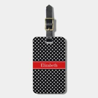 Monogramme nommé rouge de pois noir et blanc étiquettes bagages