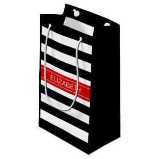 Monogramme nommé rouge de rayure de très bon goût petit sac cadeau