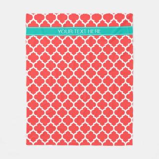 Monogramme nommé turquoise blanc rouge de corail