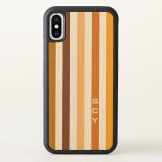 Monogramme orange bronzage de rayures verticales