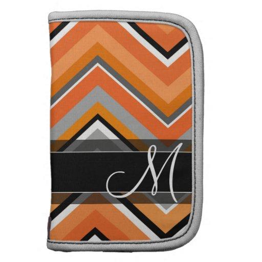 Monogramme orange gris de Chevron de noir chic de Agendas