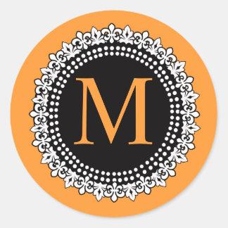 Monogramme orange M Fleur de lis Wedding de chute Sticker Rond