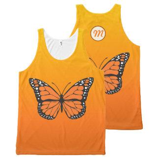 Monogramme orange vibrant de papillon de monarque débardeur tout-imprimé