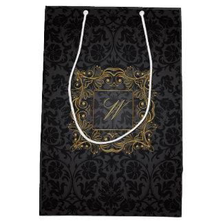 Monogramme ornemental de cadre sur la damassé sac cadeau moyen