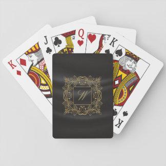 Monogramme ornemental de cadre sur la soie noire cartes à jouer