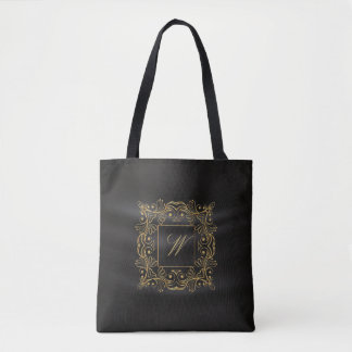 Monogramme ornemental de cadre sur la soie noire sac