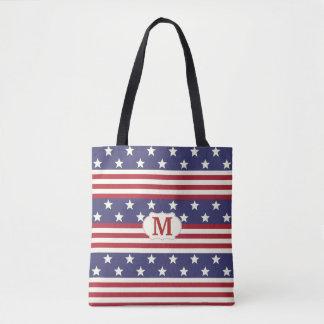 Monogramme patriotique de drapeau américain de sac