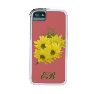Monogramme personnalisable de marguerites jaunes coques pour iPhone 5/5S