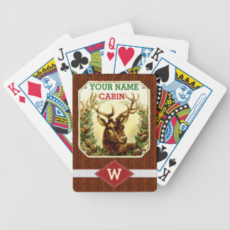 Monogramme personnalisé par cabine de cerfs jeux de cartes