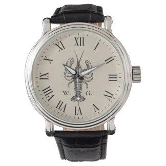 Monogramme personnalisé par homard nautique montres bracelet