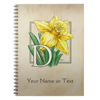 Monogramme personnalisé par jonquille jaune carnets