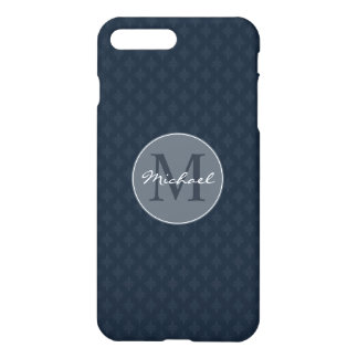 Monogramme personnel masculin beau de bleu marine coque iPhone 7 plus