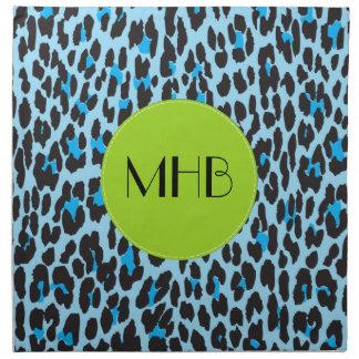 Monogramme - poster de animal, léopard repéré - serviettes de table
