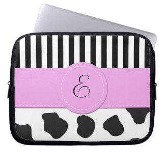 Monogramme - poster de animal, taches de vache - housse pour ordinateur portable