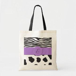Monogramme - poster de animal, vache, zèbre - sac