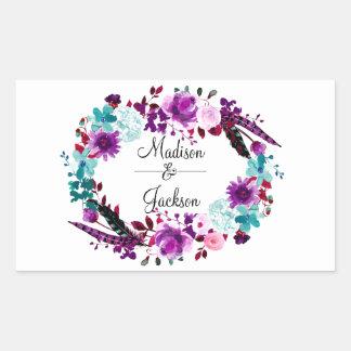 Monogramme pourpre de mariage de guirlande florale sticker rectangulaire