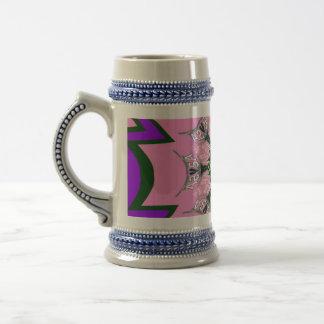 Monogramme pourpre de motif d'ombre de belles chope à bière