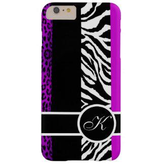 Monogramme pourpre de poster de animal de léopard coque iPhone 6 plus barely there