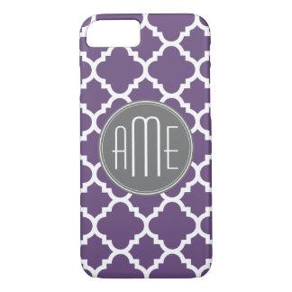 Monogramme pourpre et gris de motif de Quatrefoil Coque iPhone 7