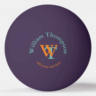 monogramme - pourpre personnalisé balle de ping pong