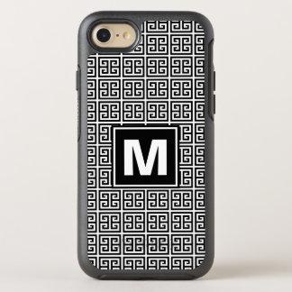Monogramme principal grec noir et blanc moderne et coque otterbox symmetry pour iPhone 7