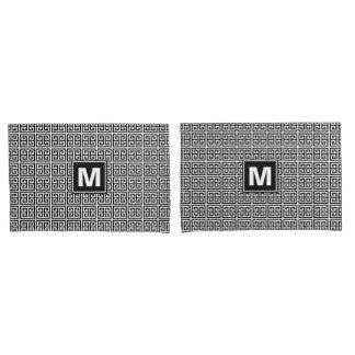 Monogramme principal grec noir et blanc moderne housse d'oreillers