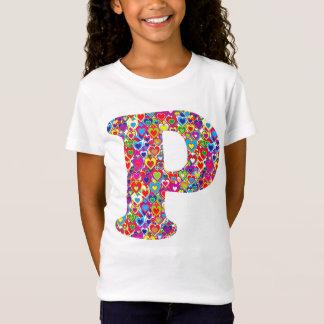 Monogramme rempli par coeur dynamique coloré de T-Shirt